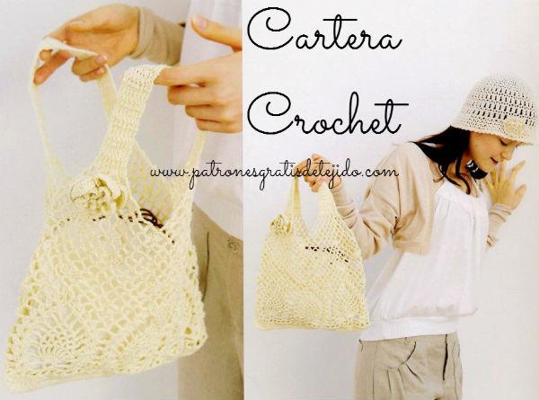 Esquema cartera tejida al crochet para principiantes punto piña