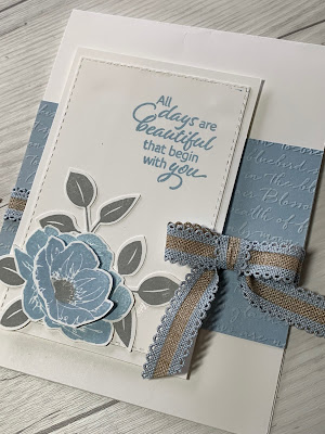 Card idea using Stampin' Up! Floral Essence and Scripty 3D Embossing Folder