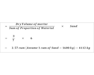 Cement mortar calculation in brick masonry