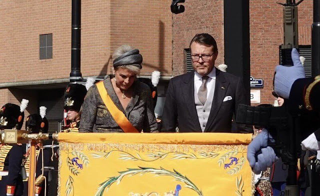 Queen Maxima's outfit is by Belgian fashion house Natan. Princess Laurentien's outfit is by fashion house Hardies in The Hague