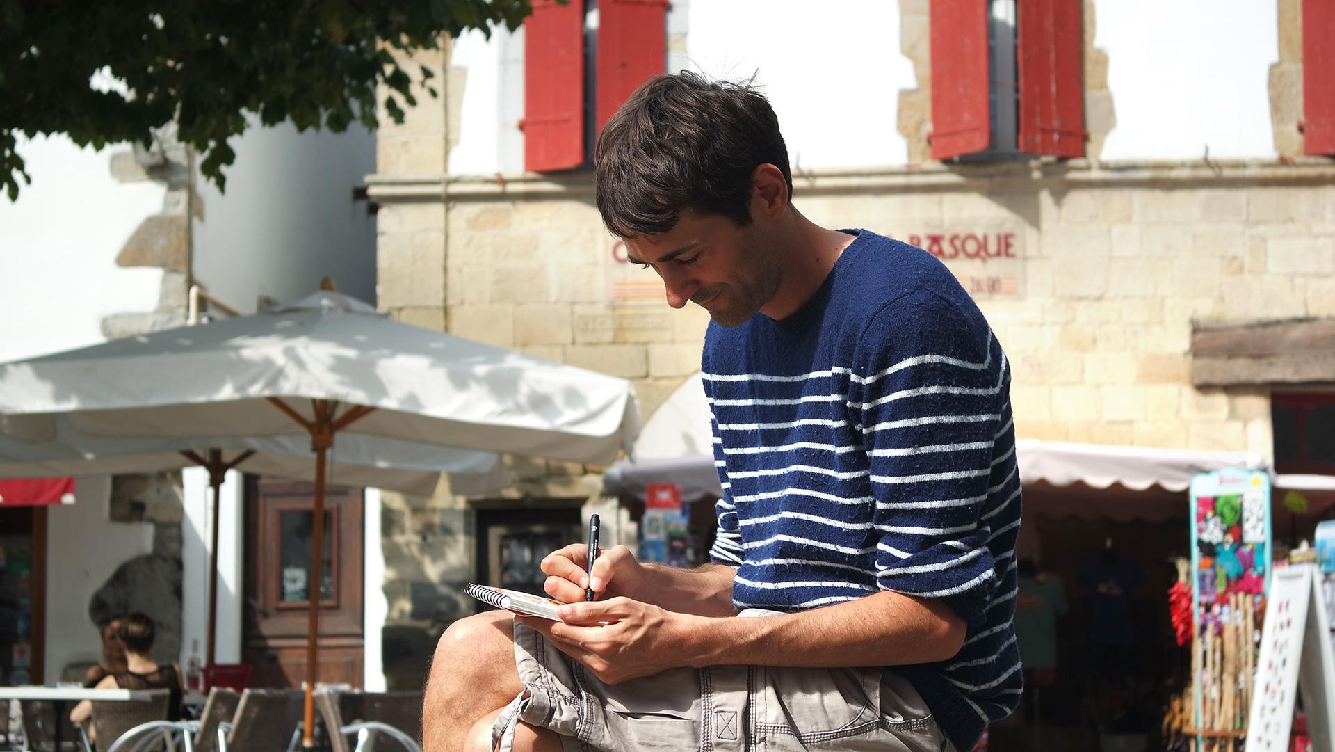 Olivier sketching in Espelette