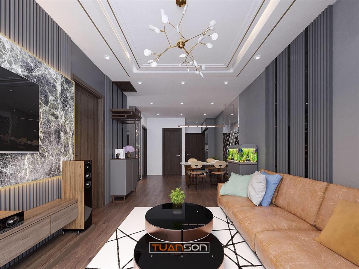 Thiết kế thi công nội thất phòng khách căn hộ Vinhomes Ocean Park Gia Lâm