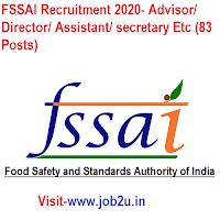 FSSAI Recruitment 2020, Advisor, Director, Assistant, secretary