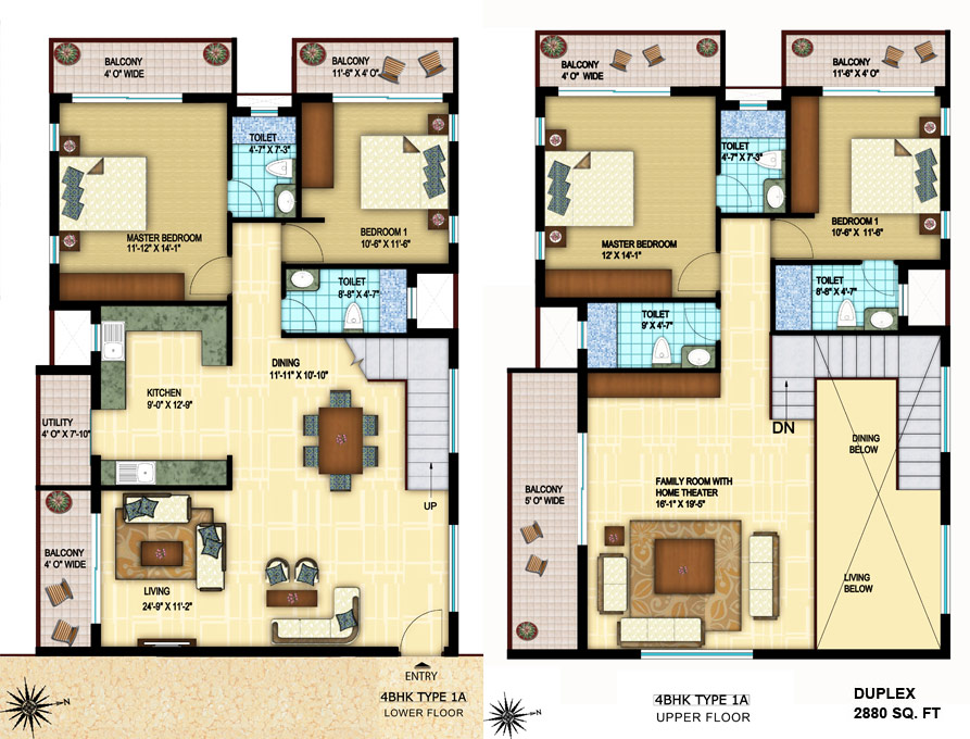 Foundation Dezin Decor 4 Bhk Layout