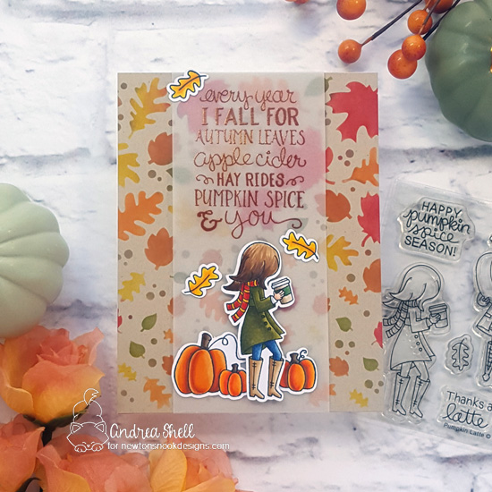 Fall-ing for You Card by Andrea Shell | Fall-ing for You and Pumpkin Latte Stamp Sets and Falling Leaves Stencil by Newton's Nook Designs #newtonsnook #handmade