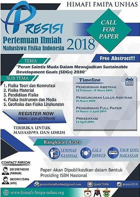 Lomba Paper Pertemuan Ilmiah Mahasiswa Fisika Indonesia (PRESISI) 2018 Univ. Hasanuddin