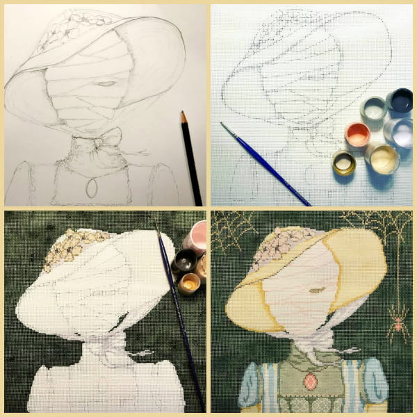Collage showing development of Maude (Halloween mummy) from sketch to finished needlepoint design