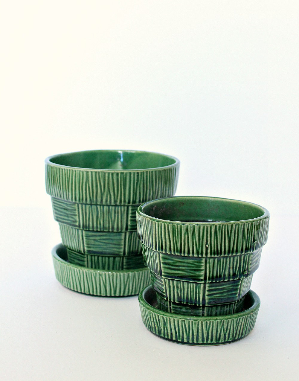 Green Basket Weave McCoy Pottery Planter