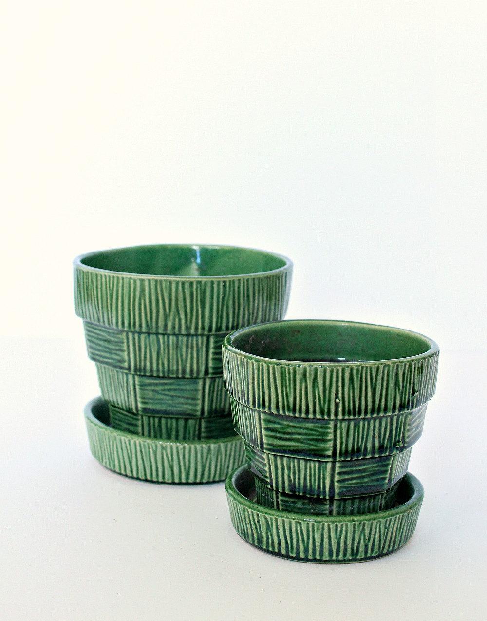 Green Basket Weave McCoy Pottery Planter