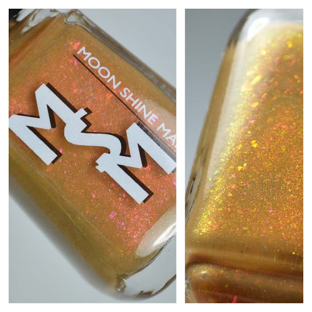 mustard yellow with red shimmer in a bottle