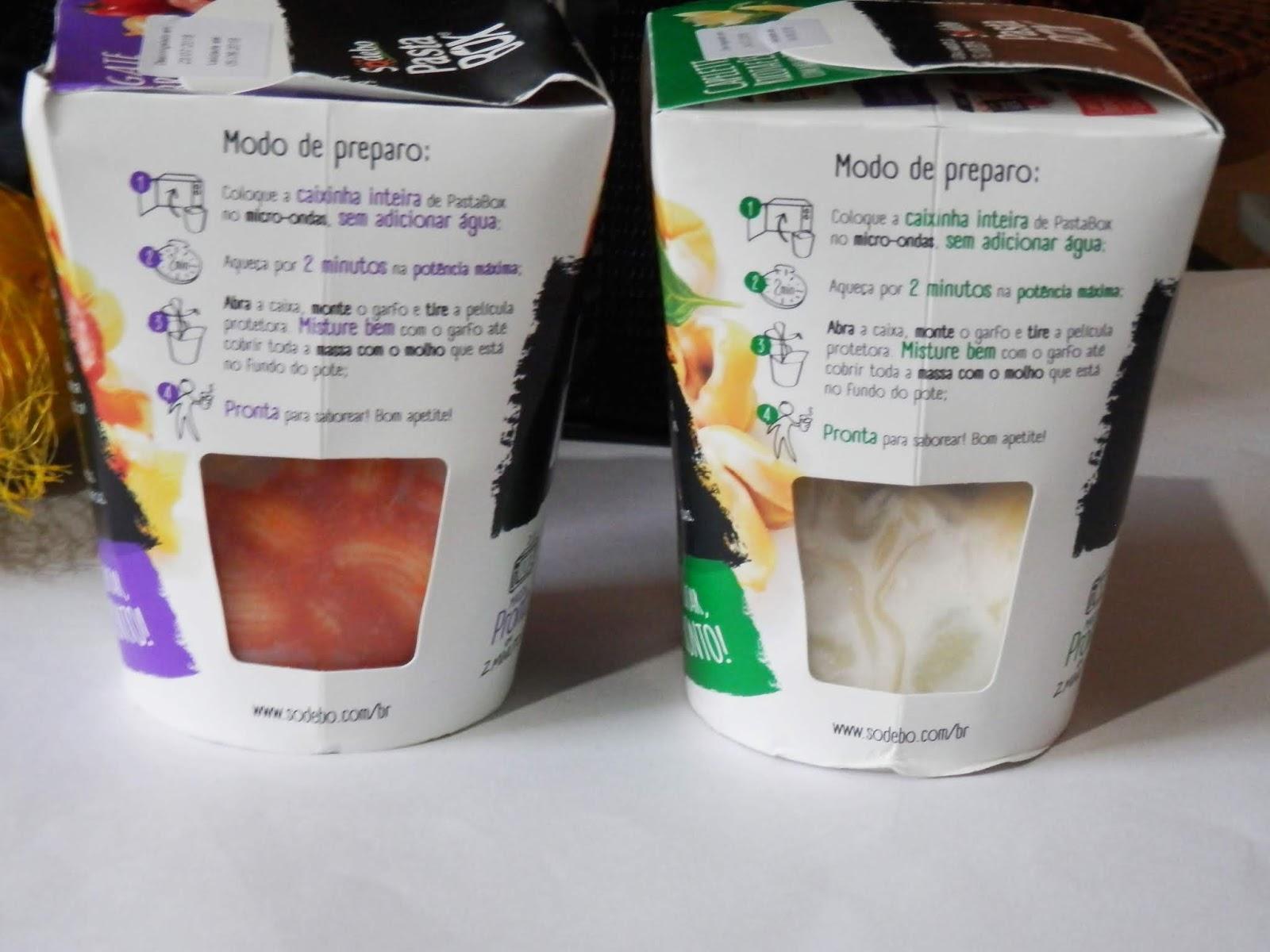 opções de pasta box da sodebo