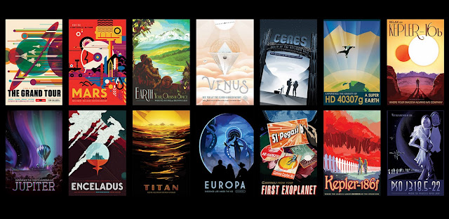"A set of ""travel posters"" from NASA/JPL depicts various cosmic destinations. Credit: NASA/JPL-Caltech"