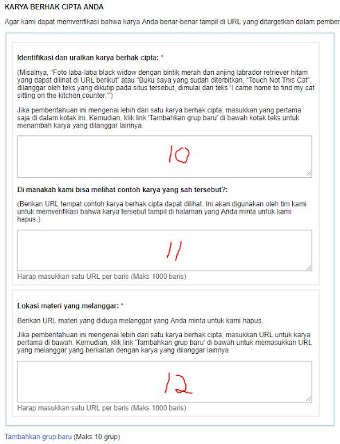cara mengisi formulir melaporkan ke google dmca