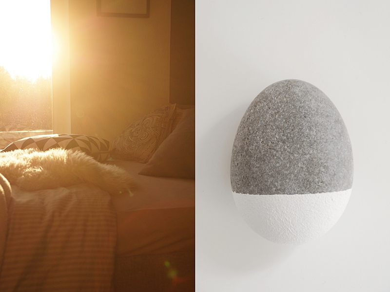 Stein bemalen gedippt DIY Kunst; Abendlicht Sonnenschein Herbst