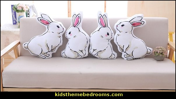 white rabbit pillows      peter rabbit bedroom - decorating peter rabbit theme bedroom - peter rabbit theme room ideas -  Beatrix Potter themed nursery - beatrix potter nursery decor - Beatrix Potter Nursery Murals - peter rabbit nursery decorating ideas - Peter Rabbit Beatrix Potter art - Beatrix Potter wall decals  Peter Rabbit bedding - peter rabbit wall murals - beatrix potter characters plush toys - bunny rabbit decor - bunny baby bedrooms - bunny rabbit theme bedrooms