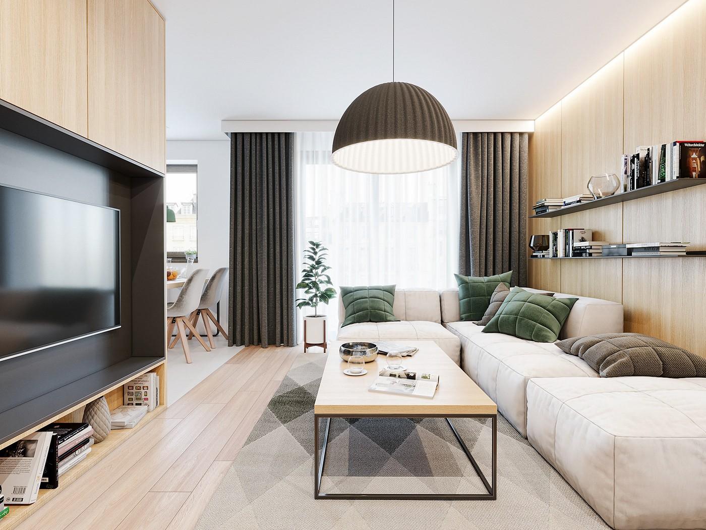 Thiết kế nội thất phòng khách mẫu 3: Phong cách Scandinavian Bắc Âu