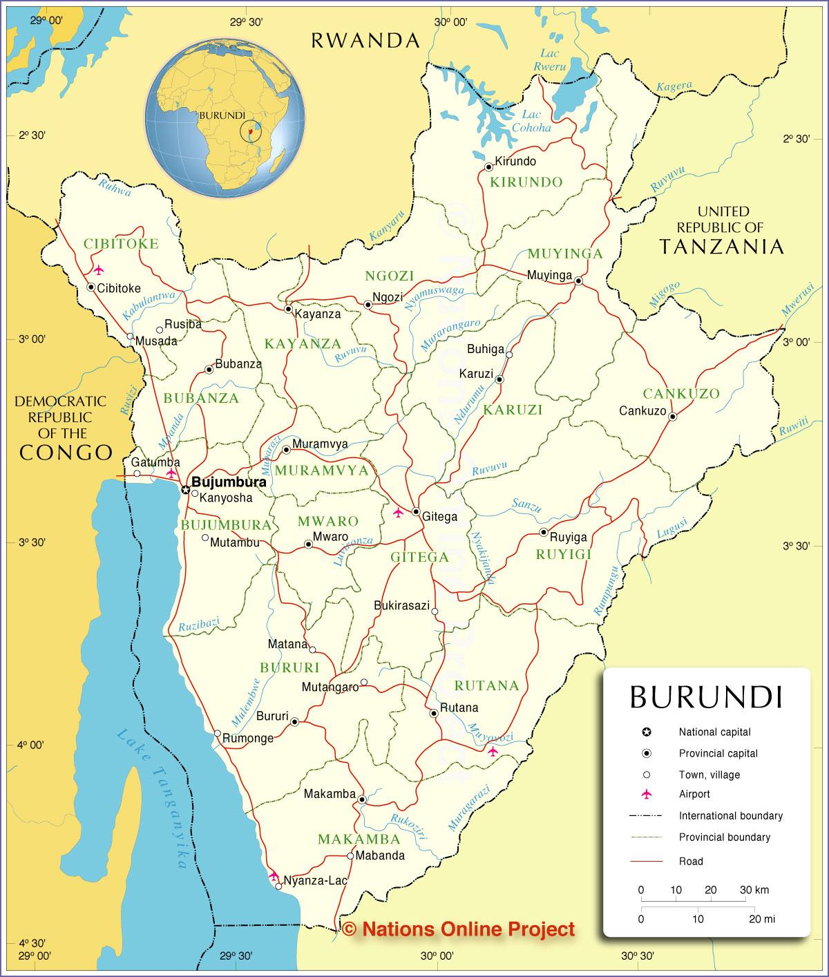 Burundi | Mapas Geográficos do Burundi