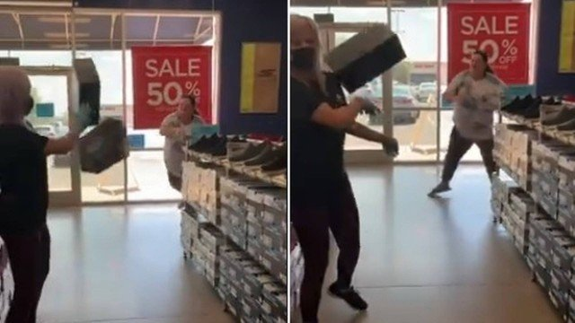 Cliente atira caixas de sapato em vendedora ao se recusar a usar máscara