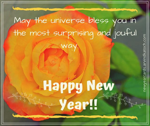 universe, joyful, surprising, happy new year, rose, card