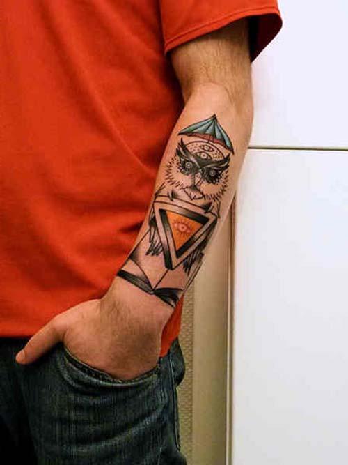 baykuş erkek bilek dövmeleri owl wrist tattoos for men
