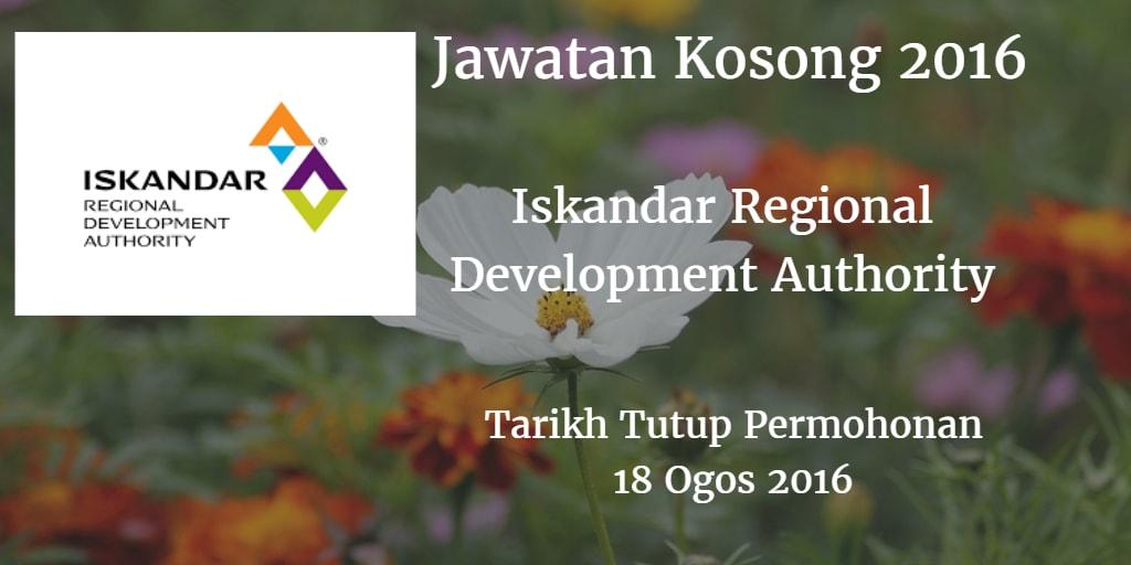 Jawatan Kosong Iskandar Regional Development Authority 18 Ogos 2016