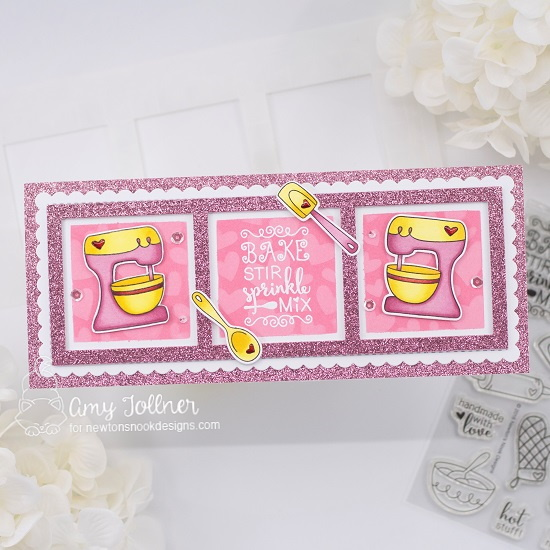 Bake, Stir, Sprinkle, Mix by Amy features Slimline Frames & Portholes, Made From Scratch, Slimline Frames & Windows,  Slimline Masking Circles & Squares,  and Tumbling Hearts by Newton's Nook Designs; #inkypaws, #newtonsnook, #cardmaking, #bakingcards