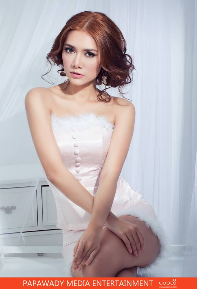 White Fashion Outfit and Myanmar Model May Shows Off Her Beauty