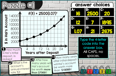 Puzzle #1 in an Exponential Growth and Decay Digital Math Escape Room
