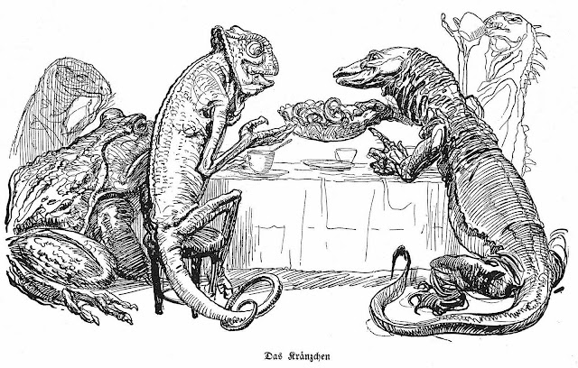 Heinrich Kley, lizards dining at a table
