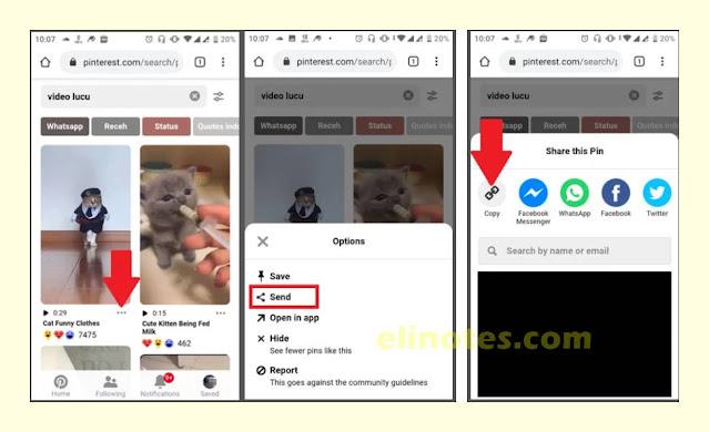 cara copy link di pinterest untuk download vidio