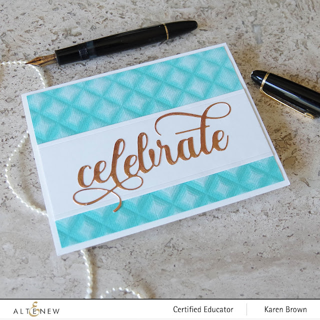Altenew Fancy Celebrate die with copper mirror cardstock