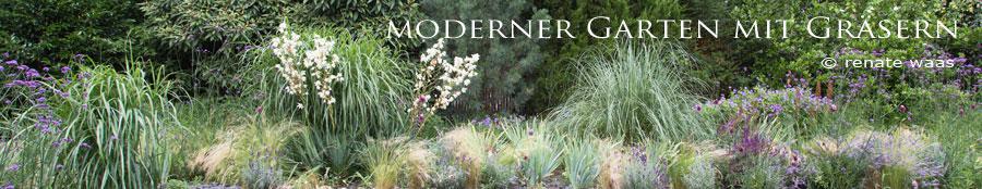 Moderner Garten, Staudenbeet, Blumenbeet, Gräser, Sommer