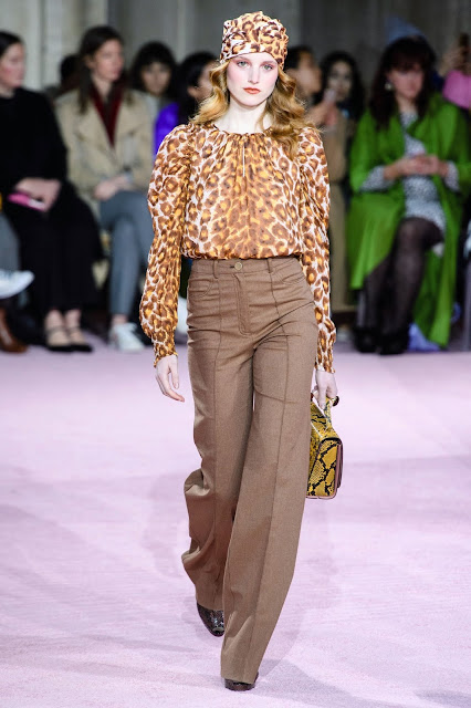 Leopard print top and brown pants