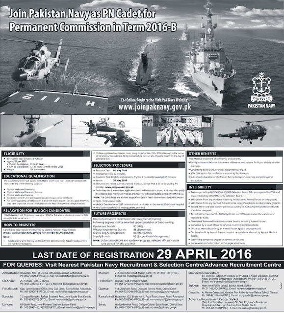 Pakistan Navy Jobs as PN Cadet for F.Sc & O/A Level Permanent Commission 2016
