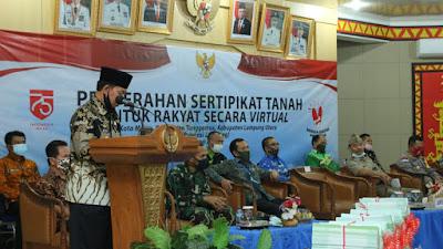 Plt Bupati Lampura Hadiri Penyerahan Sertipikat Tanah Untuk Rakyat Secara Virtual
