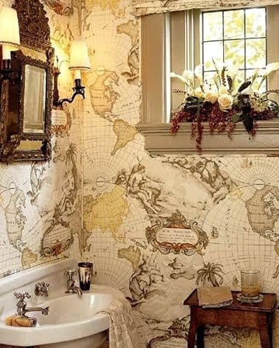 Nautical Wallpaper Idea for the Bathroom