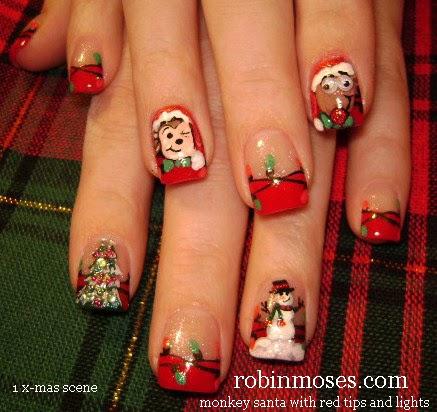 Nail Art By Robin Moses Nail Art Christmas Nail Art Sexy Santa