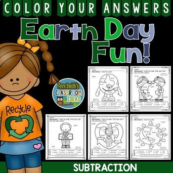 Earth Day Color By Numbers Subtraction