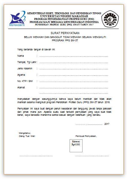 Contoh Surat Pernyataan Belum Menikah Dan Sanggup Tidak