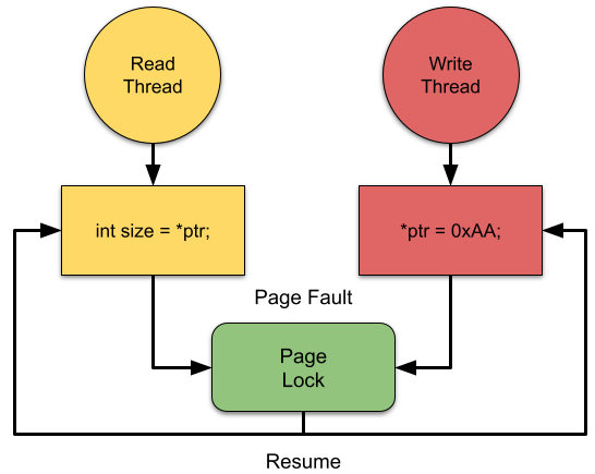 Diagram showing separate read and write threads accessing the same pointer, one for read and one for write. When the page fault occurs both threads enter the same lock and they are both resumed once the lock is released.