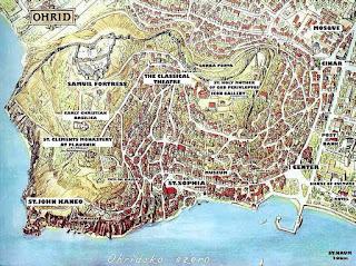 Plano turístico de Ohrid.