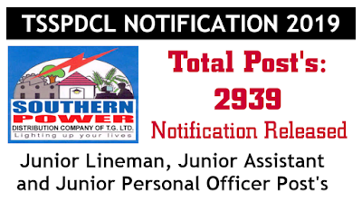 TSSPDCL recruitment 2019 Junior JLM Junior assistant and JPO Post's 2939 notification 2019