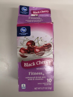 A box of Kroger Black Cherry Fitness Drink Mix Sticks against a white background
