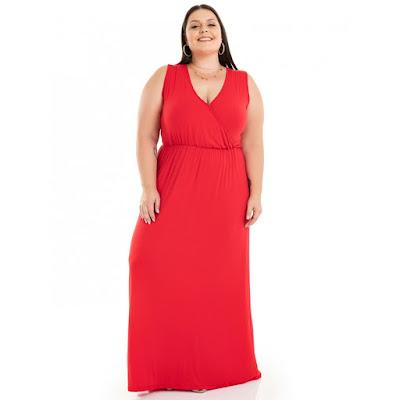 Vestido Longo Viscolycra Vermelho com Decote Transpassado Miss Masy Plus Size