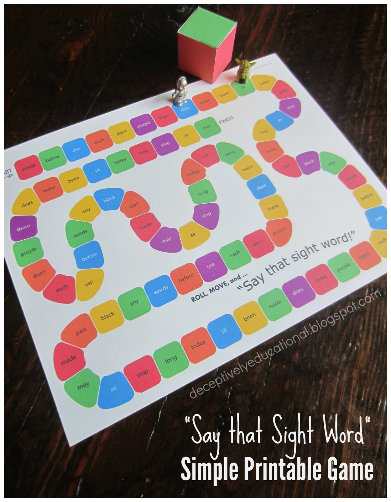 Relentlessly Fun Deceptively Educational Super Simple Free Printable Sight Word Game
