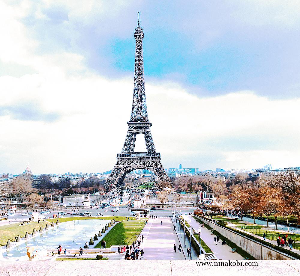 The Eiffel Tower in Paris, during Nina Kobi's travel to Paris