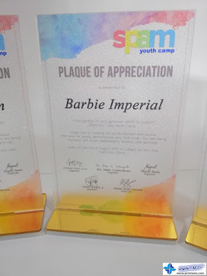 Acrylic Plaque of Appreciation - SPAM Youth Camp Philippines