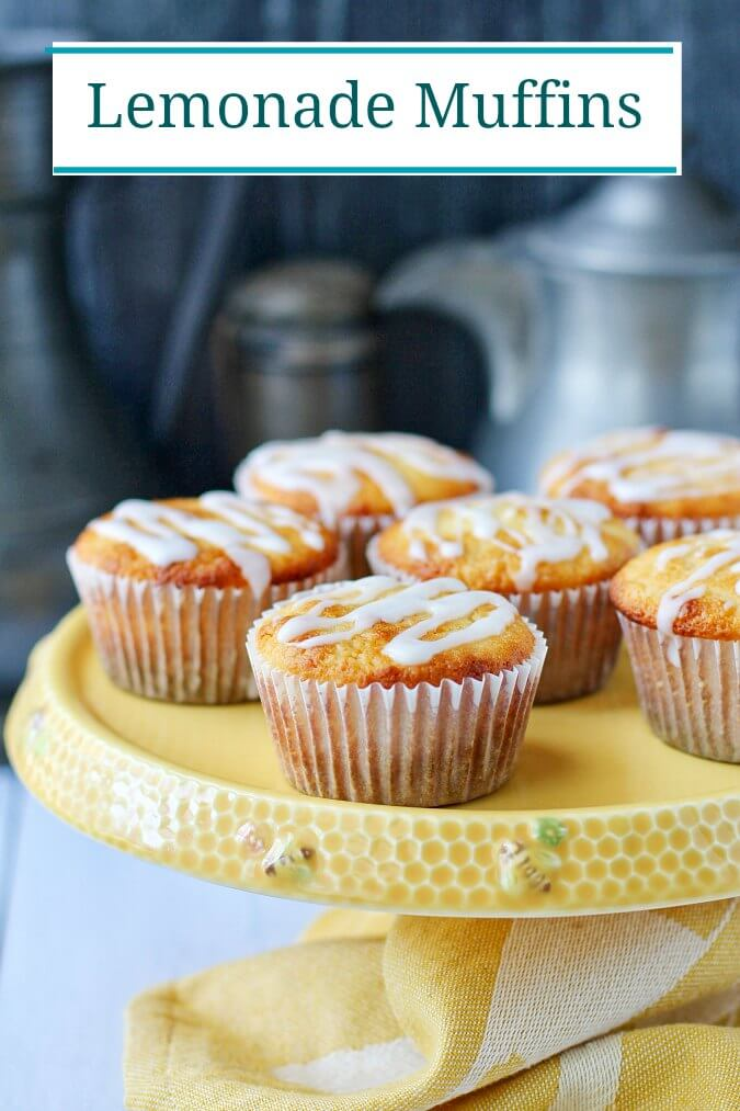 Lemonade muffins on a cake stand.