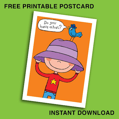 """Picture of boy and bird wearing hats, saying """"Do you have a hat?"""""""