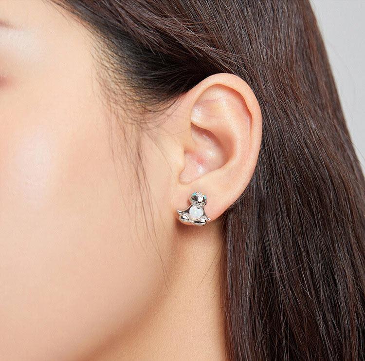超有愛樹懶 人造蛋白石 925純銀耳環